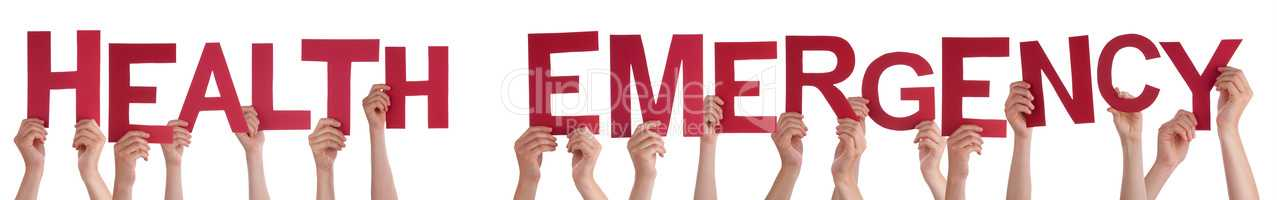 People Hands Holding Word Health Emergency, Isolated Background