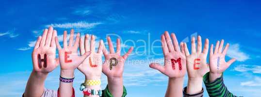 Children Hands Building Word Help Me, Blue Sky