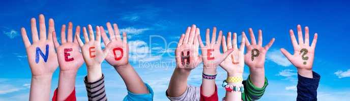 Children Hands Building Word Need Help, Blue Sky