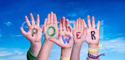 Children Hands Building Word Power, Blue Sky