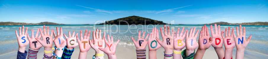 Children Hands Building Word Strictly Forbidden, Ocean Background