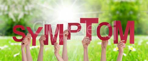 People Hands Holding Word Symptom, Grass Meadow