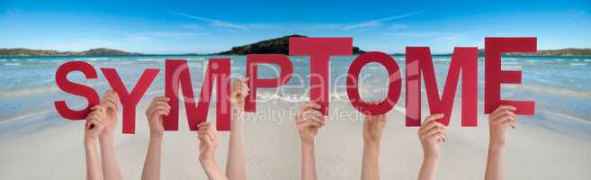People Hands Holding Word Symptome Means Symptom, Ocean Background