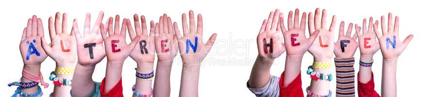 Kids Hands Holding Word Aelteren Helfen Mean Help Elderly, Isolated Background