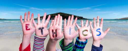 Children Hands Building Word Ethics, Ocean Background