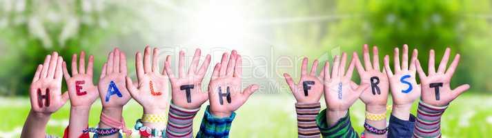 Children Hands Building Word Health First, Grass Meadow