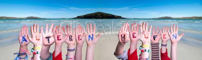 Kids Hands Holding Word Aelteren Helfen Means Help Elderly, Ocean Background