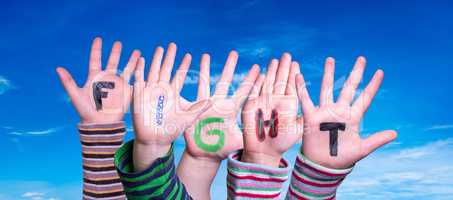 Children Hands Building Word Fight, Blue Sky