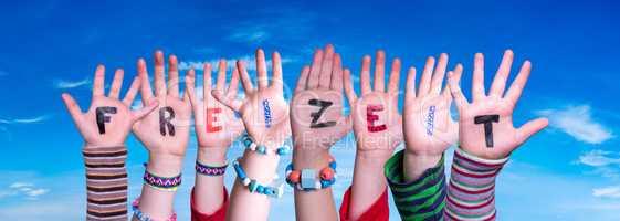Children Hands Building Word Freizeit Means Leisure, Blue Sky