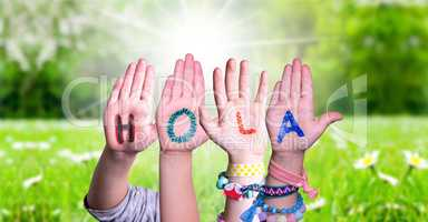 Kids Hands Holding Word Hola Means Hello, Grass Meadow