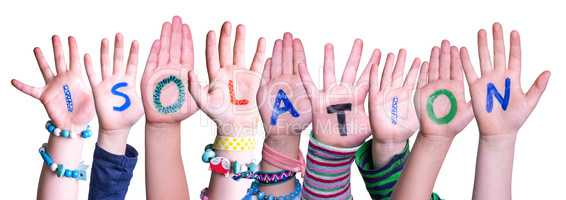 Kids Hands Holding Word Isolation, Isolated Background