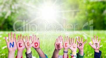 Children Hands Building Word Need Help, Grass Meadow