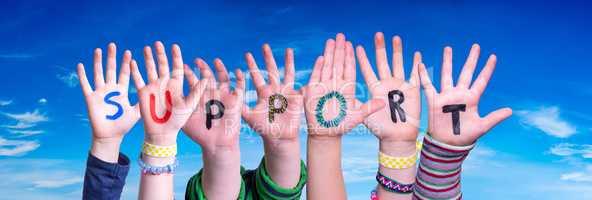 Children Hands Building Word Support, Blue Sky