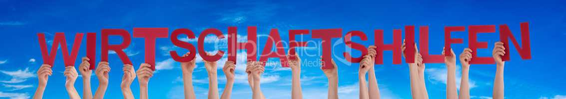 People Hands Holding Word Wirtschaftshilfen Means Economic Aid, Blue Sky
