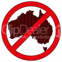 Australia silhouette with the word virus in prohibitory sign