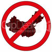 China silhouette with the word virus in prohibitory sign