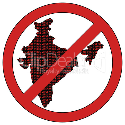 India silhouette with the word virus in prohibitory sign