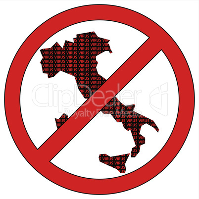 Italy silhouette with the word virus in prohibitory sign