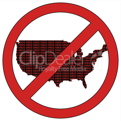 USA silhouette with the word virus in prohibitory sign