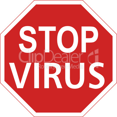 Warning sign with the word virus