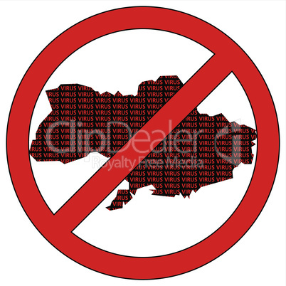 Ukraine silhouette with the word virus in prohibitory sign