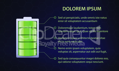 Green battery on abstract blue backgrond, full charge with lighting. Vector illustration.