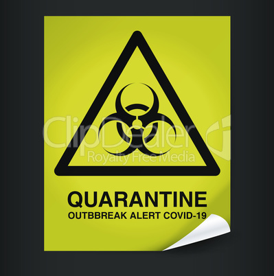 Quarantine yellow warning sign on dark background. Lockdown Pandemic stop Novel Coronavirus outbreak covid-19 2019-nCoV. Vector protect icon. Lock down sign