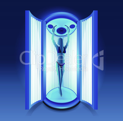 silhouette of slim girl sunbathing in solarium cabin with blue luminous tanning lamps in bikini. Realistic 3d illustration