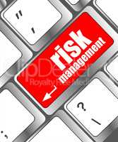 Keyboard with risk management button, internet concept