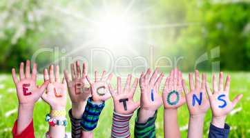 Children Hands Building Word Elections, Grass Meadow