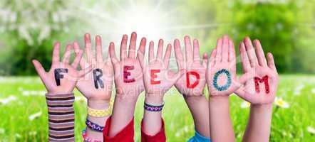 Children Hands Building Word Freedom, Grass Meadow