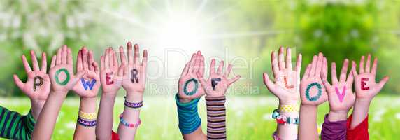 Children Hands Building Word Power Of Love, Grass Meadow