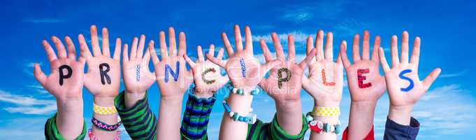 Children Hands Building Word Principles, Blue Sky