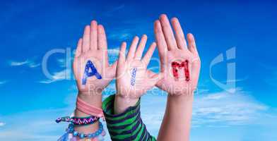 Children Hands Building Word Aim, Blue Sky
