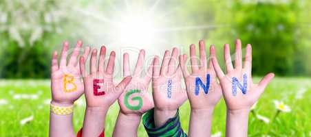 Children Hands Building Word Beginn Mean Beginning, Grass Meadow