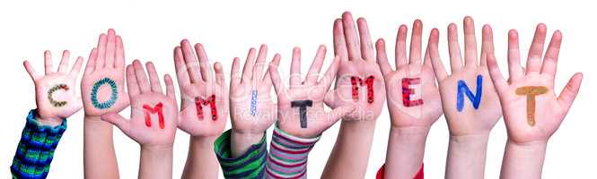 Children Hands Building Word Commitment, Isolated Background