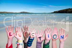 Children Hands Building Word Election, Ocean Background