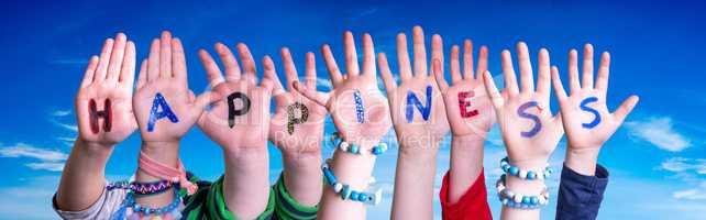 Children Hands Building Word Happiness, Blue Sky