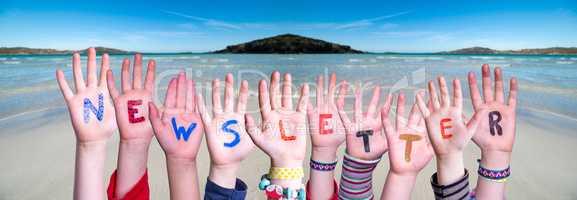 Children Hands Building Word Newsletter, Ocean Background