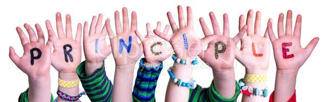 Children Hands Building Word Principle, Isolated Background