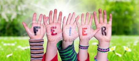 Children Hands Building Word Feier Means Celebration, Grass Meadow