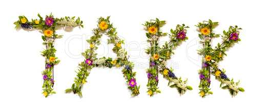 Flower And Blossom Letter Building Word Takk Means Thank You