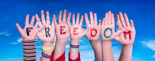 Children Hands Building Word Freedom, Blue Sky