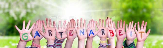 Children Hands Building Word Gartenarbeit Means Gardening, Grass Meadow