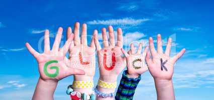 Children Hands Building Word Glueck Means Luck, Blue Sky