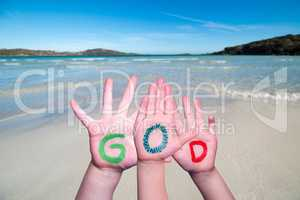 Children Hands Building Word God, Ocean Background
