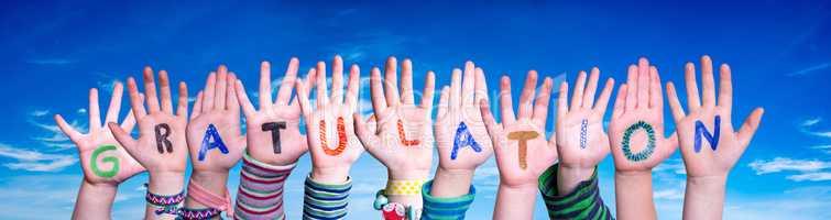 Children Hands Building Word Gratulation Means Congratulations, Blue Sky