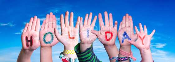 Children Hands Building Word Holiday, Blue Sky