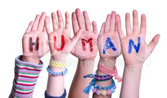 Children Hands Building Word Human, Isolated Background