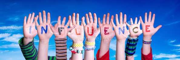 Children Hands Building Word Influence, Blue Sky